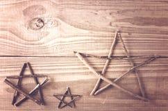 Stars la decorazione fatta dai ramoscelli Mestiere, fatto a mano Fotografia Stock Libera da Diritti