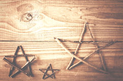 Stars la decorazione fatta dai ramoscelli Mestiere, fatto a mano Immagini Stock Libere da Diritti