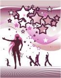 Stars la priorità bassa con la gente di dancing Fotografie Stock Libere da Diritti