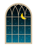 Stars la ventana ilustración del vector