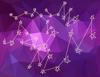 Stars le costellazioni in universo nel fondo del triangolo Immagini Stock