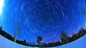 Stars leave traces. Fisheye. Time Lapse stock footage