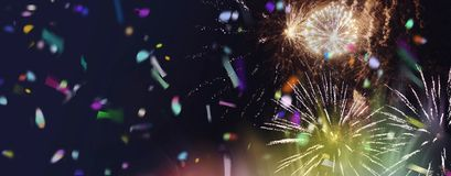 Bright sparkling multicolor fireworks panorama. Stars and lights pattern of bright sparkling colorful fireworks with motion textures and circle shapes added stock illustration