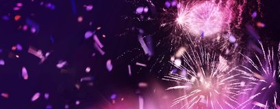 Bright sparkling fireworks panorama. Stars and lights pattern of bright sparkling fireworks with motion textures and circle shapes added royalty free illustration
