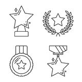 Stars Line Icons. Set of star award line icons Royalty Free Stock Images