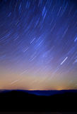 Stars, long exposure. Sky of stars in mountains, rotated, night Stock Photography