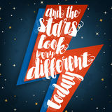 And the stars look very different today typographic quote Stock Photo