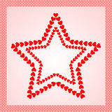 Stars made from red hearts, framed with heart border Royalty Free Stock Images