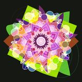 STARS MANDALA FLOWER IN BRIGHT COLORS, PLAIN BLACK BACKGROUND. GREEN, LIGHT GREEN , BLUE, VIOLET, COLORFUL IMAGE royalty free illustration
