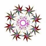 STARS MANDALA. VINTAGE STYLE. PLAIN WHITE BACKGROUND . CENTRAL LINEAR DESIGN IN PURPLE, VIOLET, GREEN, YELLOW AND WHITE