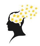 Stars in mind. Illustration of blowing stars in human mind Stock Images