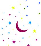 Stars and moon. Glowing in different colors Stock Photography