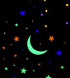 Stars and moon. Glowing in different colors Stock Images