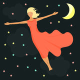 Stars, moon and girl  in a dream. Good night card. Royalty Free Stock Photo