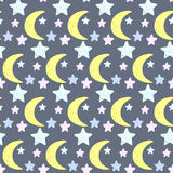 Stars and moon. Good night and sweet dreams theme Stock Images