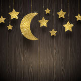 Stars and moon on a wooden texture background Royalty Free Stock Photo