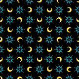 Stars and moons magical seamless pattern Stock Image