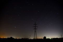 Stars with motion electricity poles Stock Photos