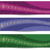Stars and music. Three colorful backgrounds with stars and music sheet Stock Images