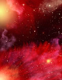 Stars and Nebulae. A star field with red and purple nebulaes Stock Photography