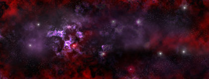 Stars Nebula in the deep Space. A panoramic illustration of stars nebula and the deep space