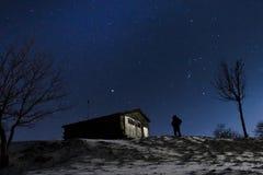Stars a neve da noite Fotografia de Stock Royalty Free