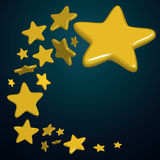 Stars night. Flying Golden stars on blue background, vector illustration Royalty Free Stock Images