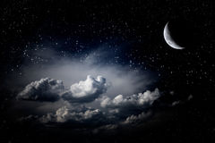 Stars in Night sky. Night sky clouds stars moon stock photography