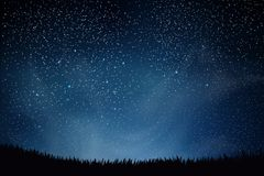 Stars in night sky. Blue dark night sky with many stars above field of grass. Shining Stars and Clouds. Background. Illustration Stock Photography