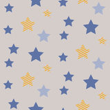 Stars on night sky boy seamless vector pattern. Royalty Free Stock Photo