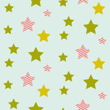 Stars on night sky boy seamless vector pattern. Stock Images