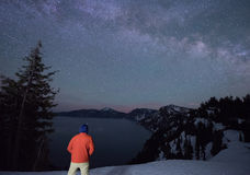 Stars and the night sky at Crater Lake National Park Stock Photo