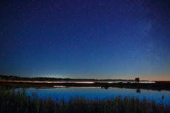 The stars in the night sky reflected in the river. The lights fr Royalty Free Stock Photos