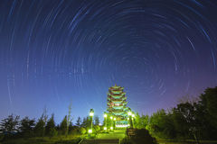 The Stars night of startails. Over China Tower royalty free stock image