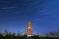 The Stars night of startails. Over China Tower stock photo