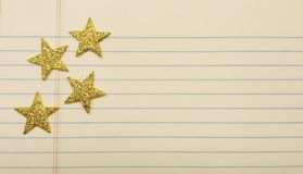 Stars on notebook paper stock photos