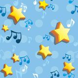 Stars and the notes on a blue background. Seamless Royalty Free Stock Photo