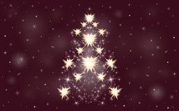 Stars o fundo do inverno da árvore de Natal dos flocos de neve ilustração royalty free