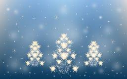 Stars o fundo do inverno da árvore de Natal dos flocos de neve ilustração do vetor