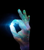 Stars OK. Hand Sign with Star  Some elements provided courtesy of NASA Stock Photo