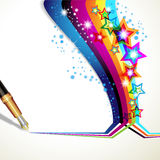Stars and old pen Royalty Free Stock Photography