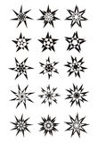 Stars. 15 original characters Decorative symbols for text and pages. Can be used as logos. Vector graphics Royalty Free Stock Image