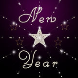 Stars ornament with text New Year Stock Images