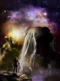 Stars over alien planet. Astronaut watching waterfalls on a rock over an alien planet under the stars Stock Images