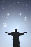 Stars over Cristo Redentor royalty free stock photos