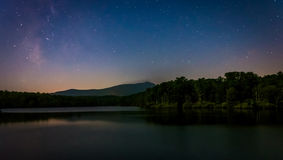 Stars over Julian Price Lake at night, along the Blue Ridge Park. Way in North Carolina Stock Photography