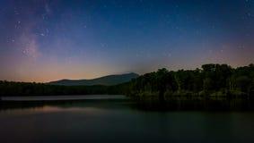 Stars over Julian Price Lake at night, along the Blue Ridge Park Stock Photography