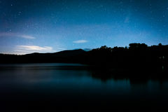 Stars over Julian Price Lake at night, along the Blue Ridge Park Stock Image