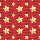 Stars over knitted background. Gold plaid stars scattered over red background with knitted texture, seamless pattern included royalty free illustration