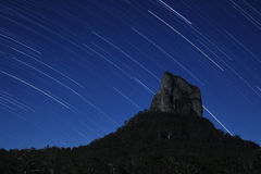 Stars over Mount Coonowrin. One of the Glasshouse Mountains in the Sunshine Coast Hinterland, Queensland, Australia Royalty Free Stock Image